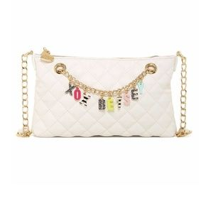 Betsey Johnson Quilted Give Me A B Charm Crossbody